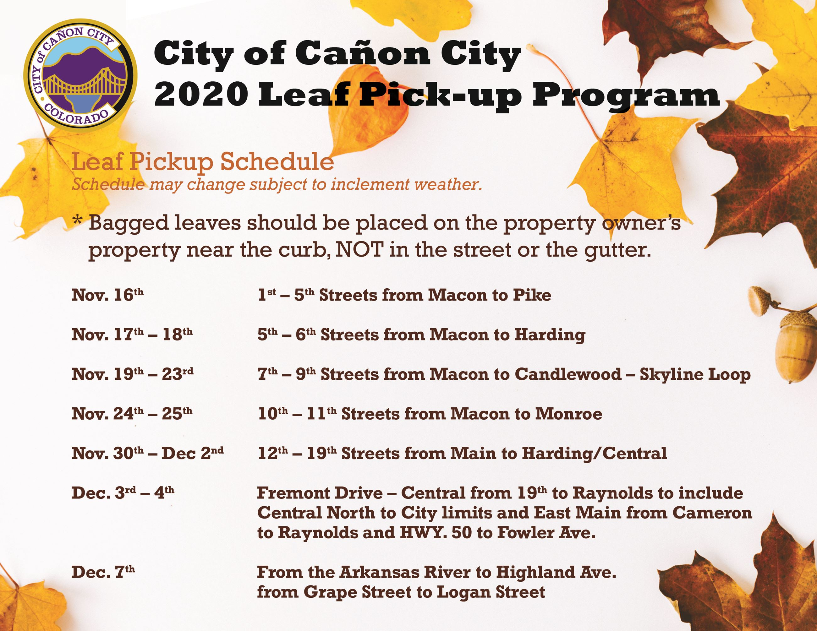 2020 Leaf Pickup Schedule