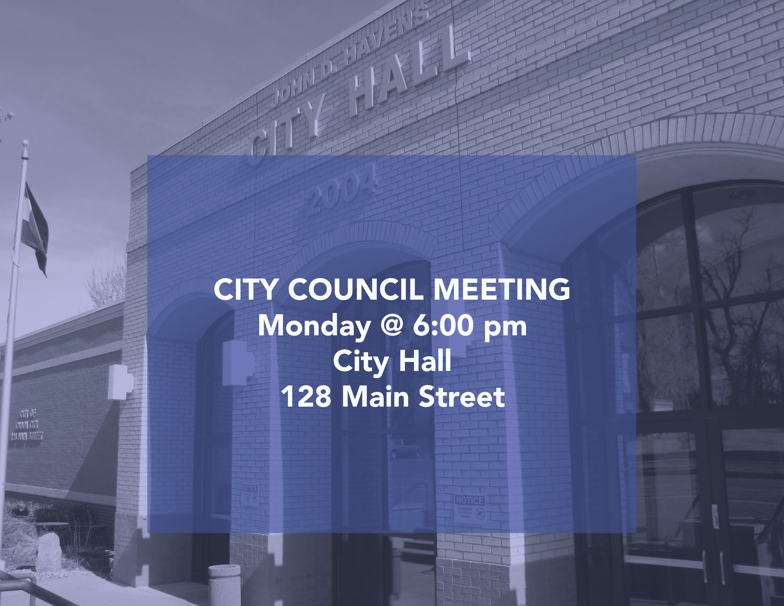 City Council Meeting Monday at 6pm