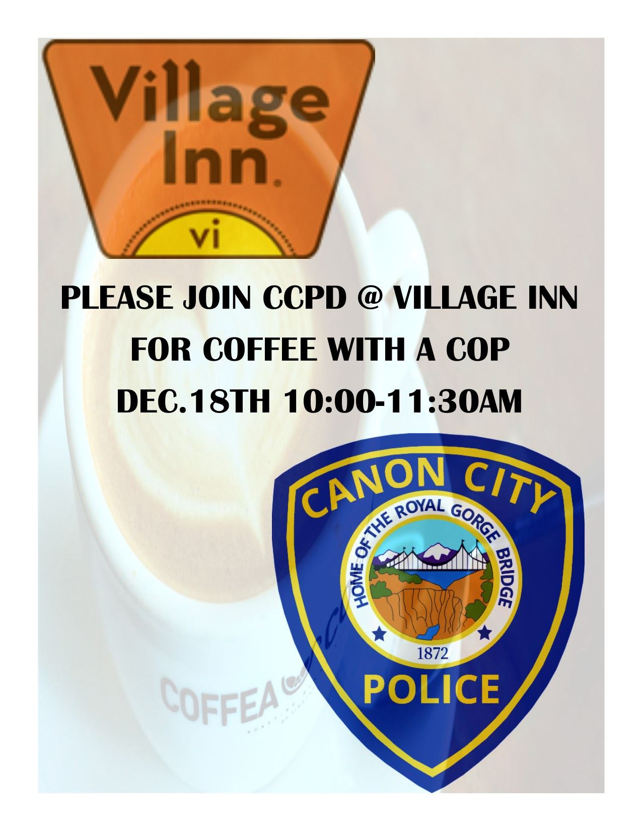 Coffee with a Cop Dec 18, 2019 at 10 am at Village Inn