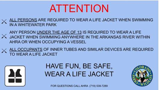Life Jackets Required at Whitewater Park Notice