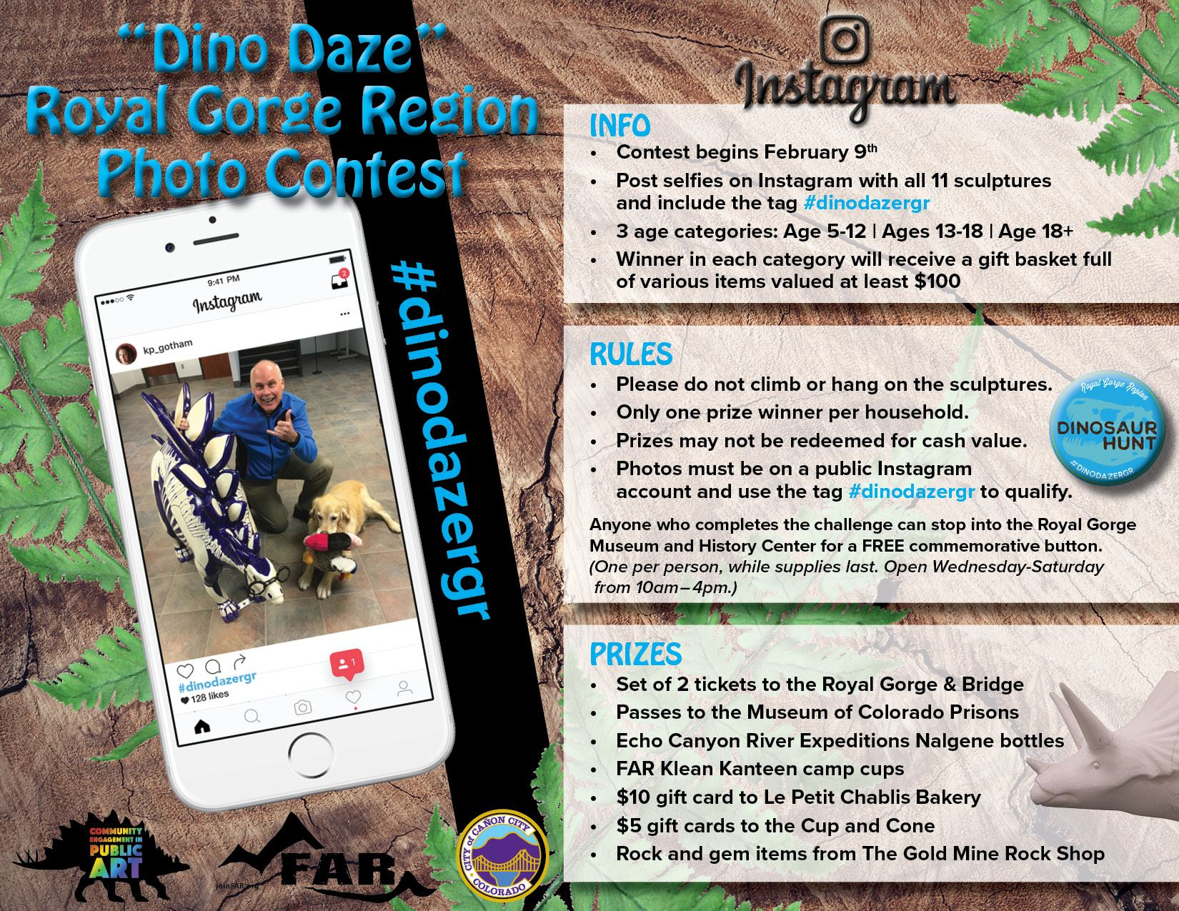 Dino Daze Instagram Photo Contest Flyer